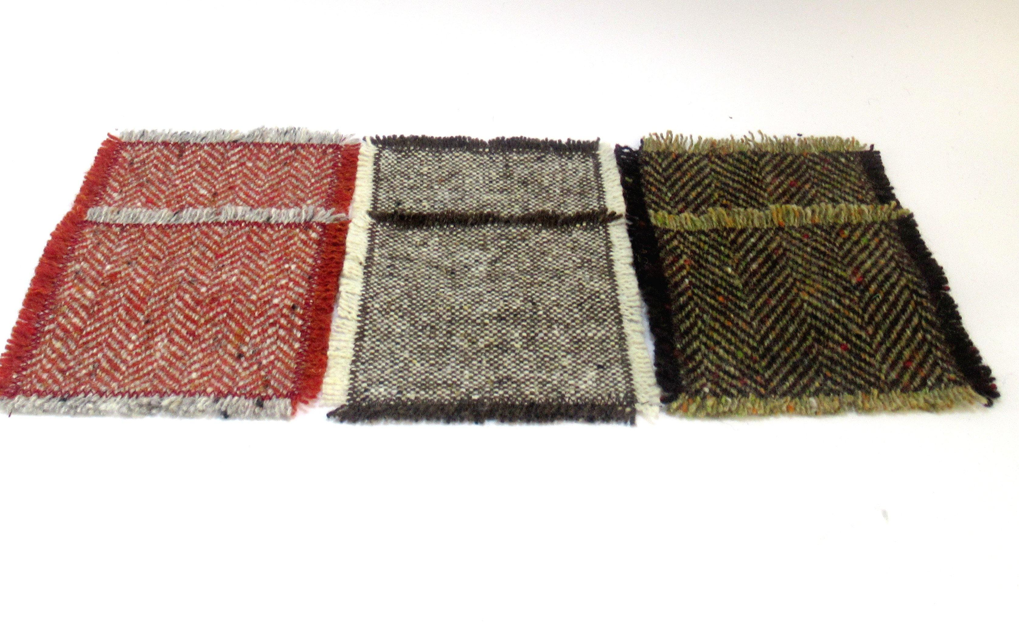 Donegal Tweed Coasters - The Red set Tweed Coasters Tweed.ie