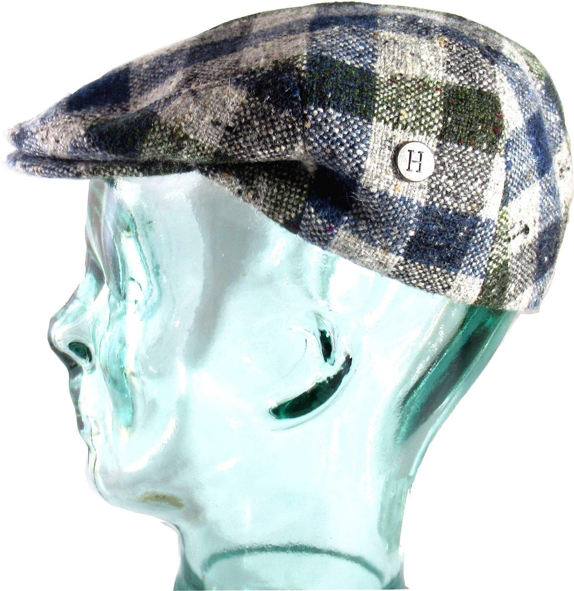 Hata Check mohair and merino tweed cap.