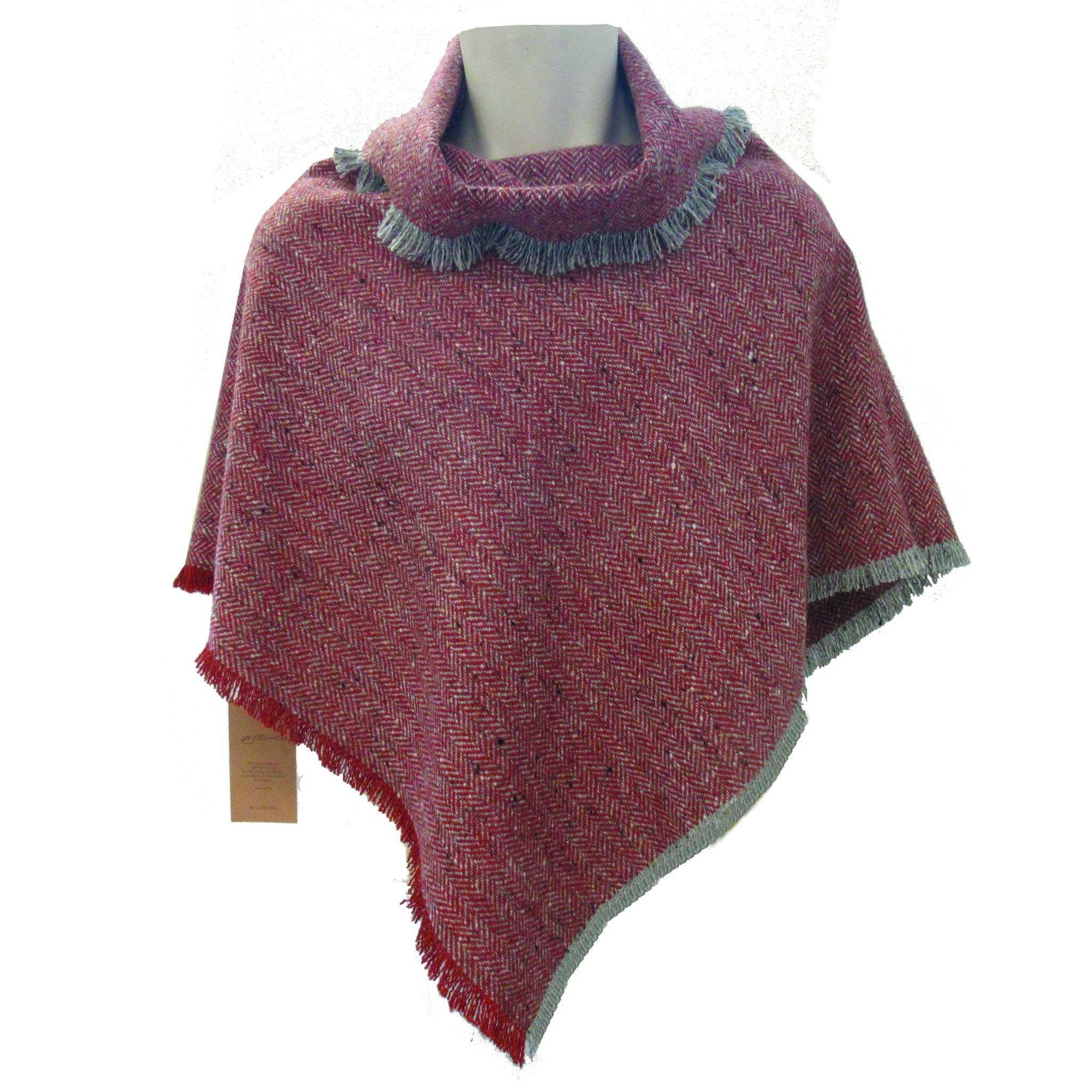 Burnt Orange Herringbone Donegal Tweed Poncho