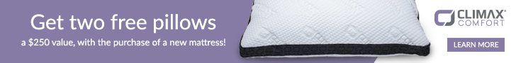 Use code: SLEEP2 and receive 2 free pillows with any mattress purchase!