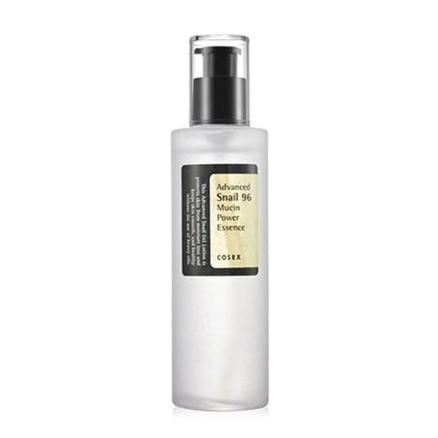 Product image of the Cosrx Advanced Snail 96 Mucin Power Essence 100ml clear bottle with black label and black pump.