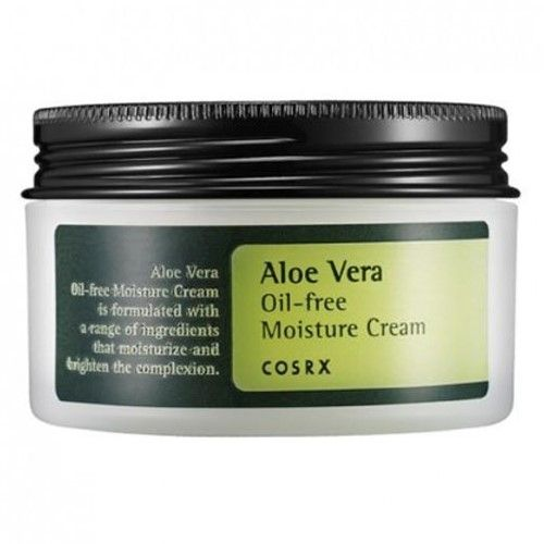 Cosrx's Aloe Vera Oil Free Moisture Cream comes in a 100g pot, white tub with black screw top lid