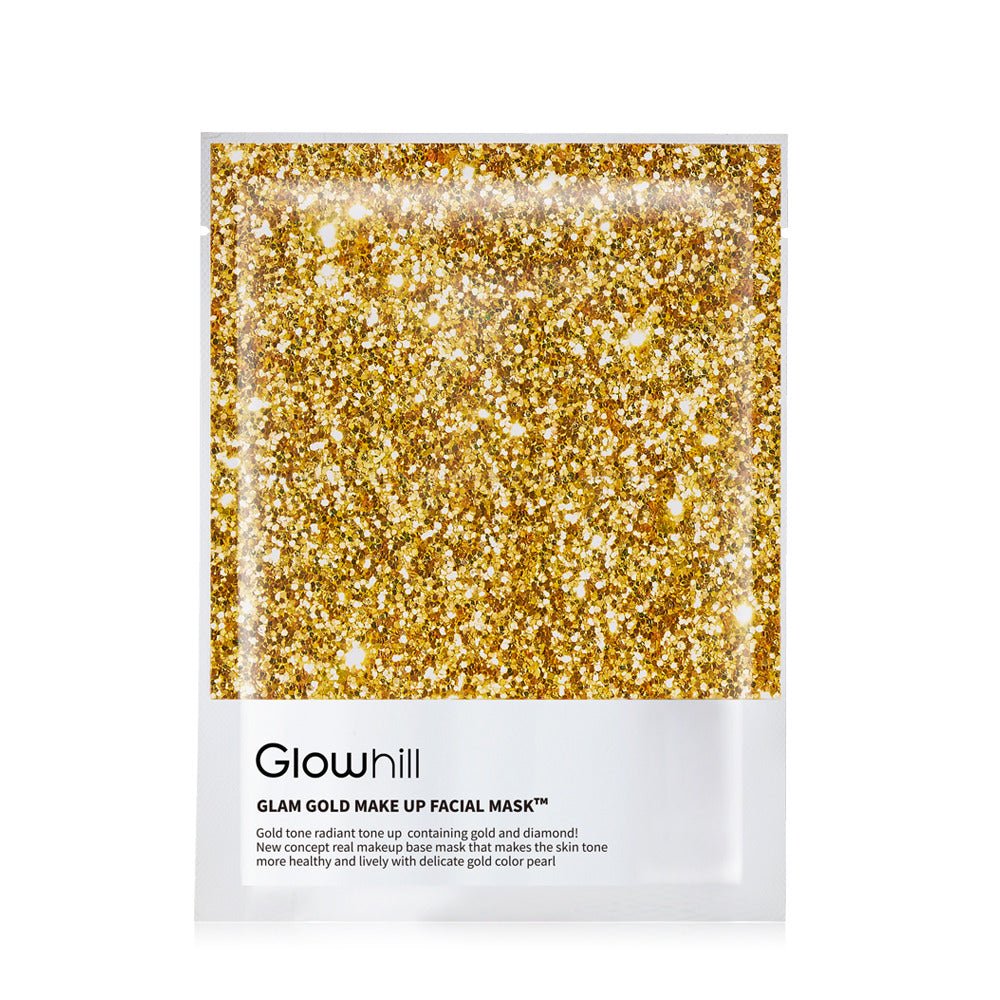 Glowhill's glam gold mask sheet, image  glittery gold sparkle with the end of the packaging in white with black writing of the product name