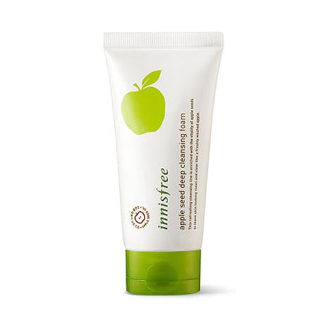 iNNisfree Apple seed cleansing foam comes in a white tube with a green flip top cap