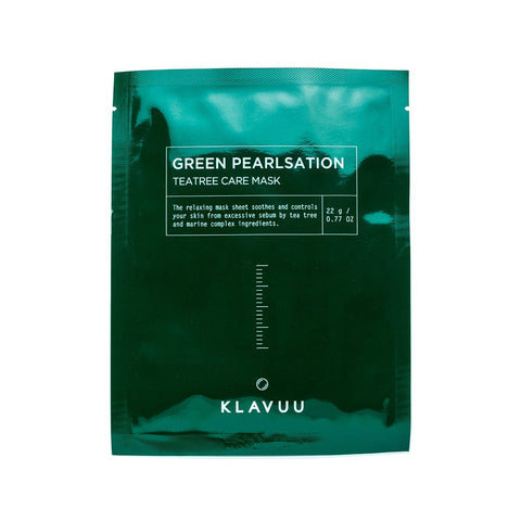 Klavuu's green pearlsation mask sheet is packaged in glossy dark green with white writing