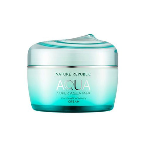 Nature Republic;s watery cream in a Torquise glass like container with screw lid, dark print