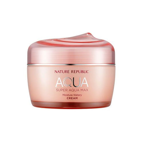 Nature Republic's Moisturizer comes in a baby pink glass like tub with the same colour screw lid, red and silver print