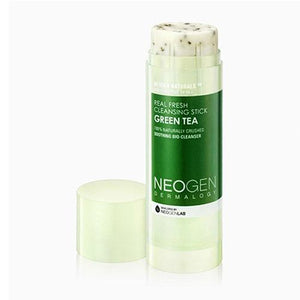 Travel size, Neogen, Green tea cleansing stick, white roller stick with dark green stick and white print