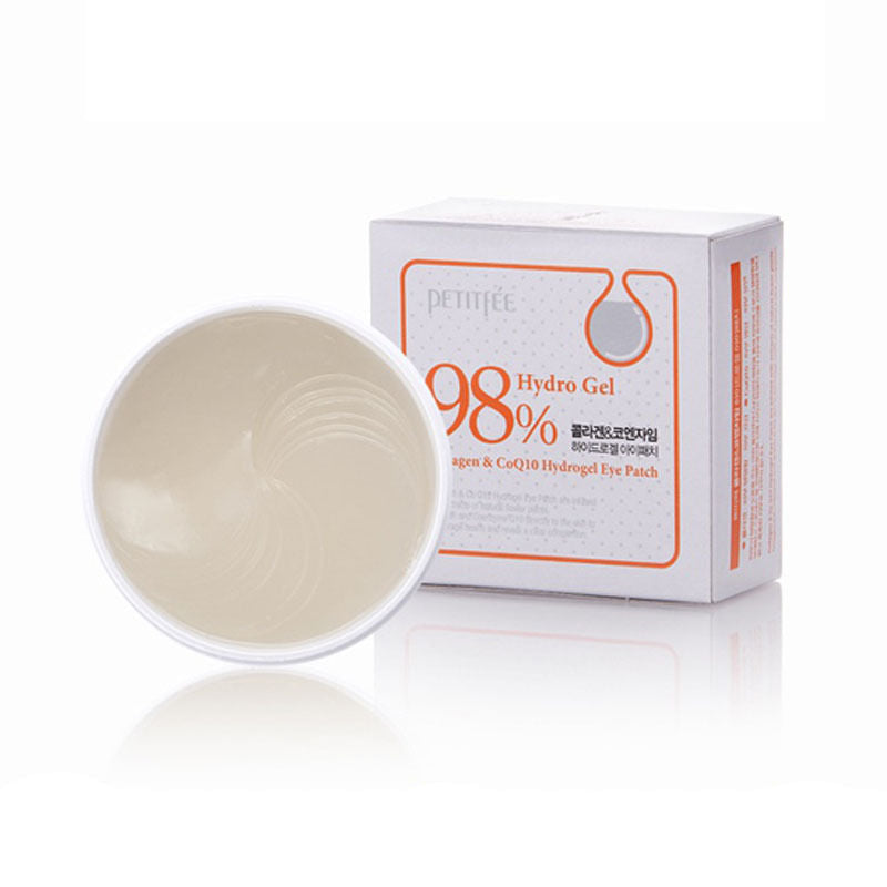 Petitfee collagen under eye patches, comes in a white container. Image of the container and the contents, the outter packaging is a box with orange writing