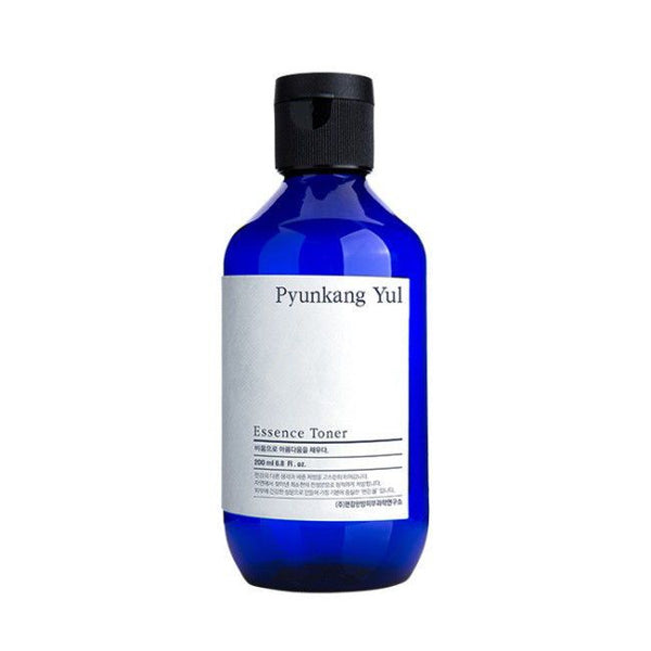 Pyunkang Yul's toner in a dark blue bottle with a flip top black lid, white label with black writing