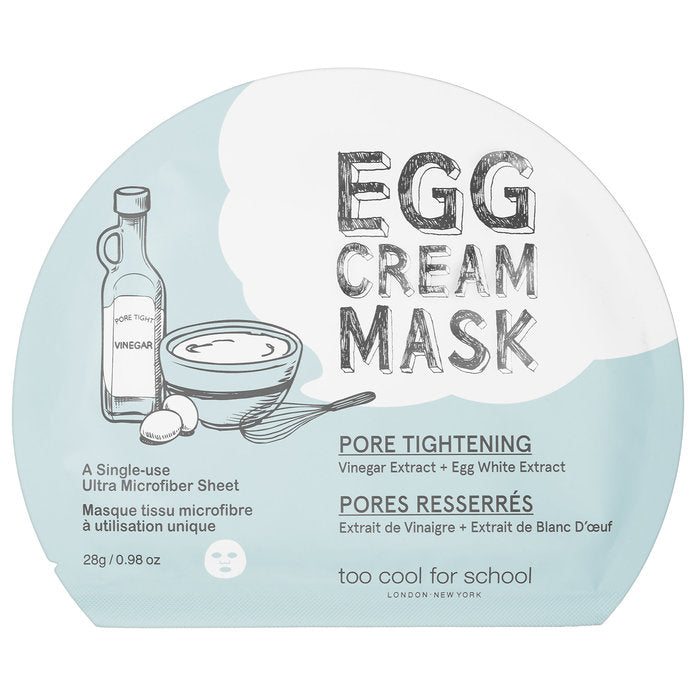 Too Cool For ScHool's Egg Cream Mask, light blue and white packaging, circular in shape with a pic of a bottle, container, whisks and eggs.