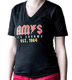 Amy's Ice Creams ACDC Styled V-Neck Women's T-Shirt Black