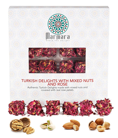 Marmara Authentic Turkish Delight with Rose / Gourmet Sweet Confectionery Box Candy Dessert (Rose Petals)