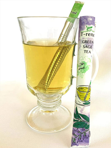 Green and Sage Tea Mix Pure And Natural Easy Stir Pouch No Sugar 18 Pouch Stick in one Pack