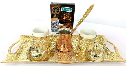 Turkish Coffee Set Gift with 1 Zamak Tray, 2 Coffee Cups, 2 Zamak Sleeves for Coffee Cups & 1 Coffee Pot with 100gr Hazelnut Coffee