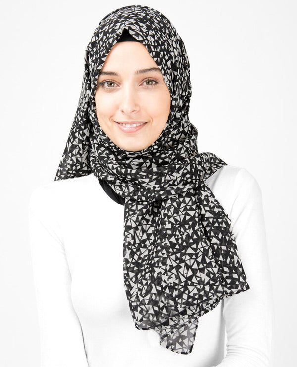 Black And White Geometric Georgette Hijab