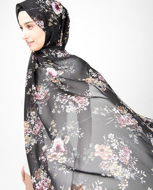 Black Floral Bunch Print Georgette Hijab