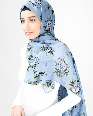 Powder Blue Floral Georgette Hijab