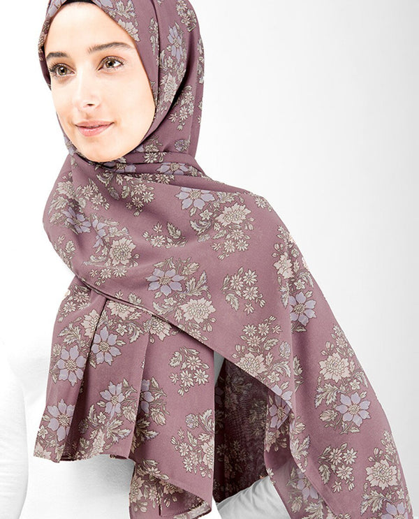Winter Rose Floral Georgette Hijab