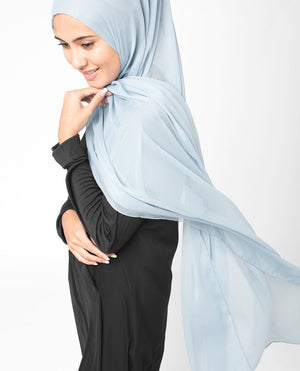 "Ashley Blue Chiffon Hijab-HIJABS-InEssence-Regular 27""x70""-MeHijabi.com"