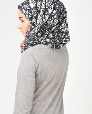 "Black and White Hijab-HIJABS-VersaStyle-Regular 27""x70""-MeHijabi.com"
