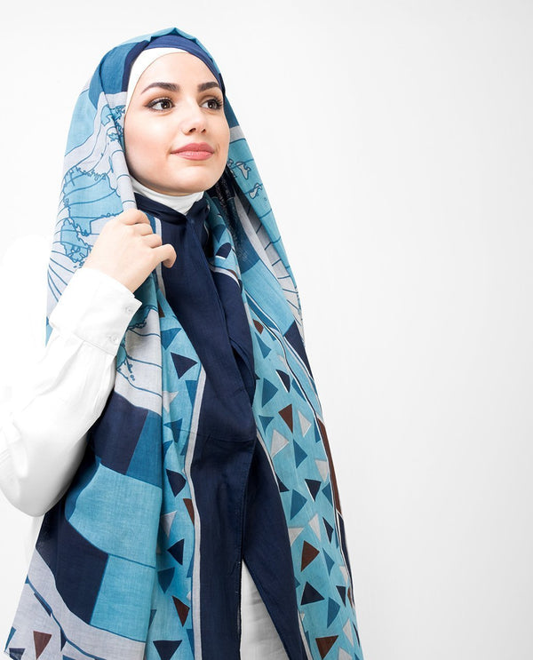 "Blue and Teal Cotton Hijab-HIJABS-Route 01-Regular 27""x70""-MeHijabi.com"
