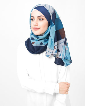 "Blue and Teal Cotton Hijab-HIJABS-Route 01-Maxi 40""x70""-MeHijabi.com"