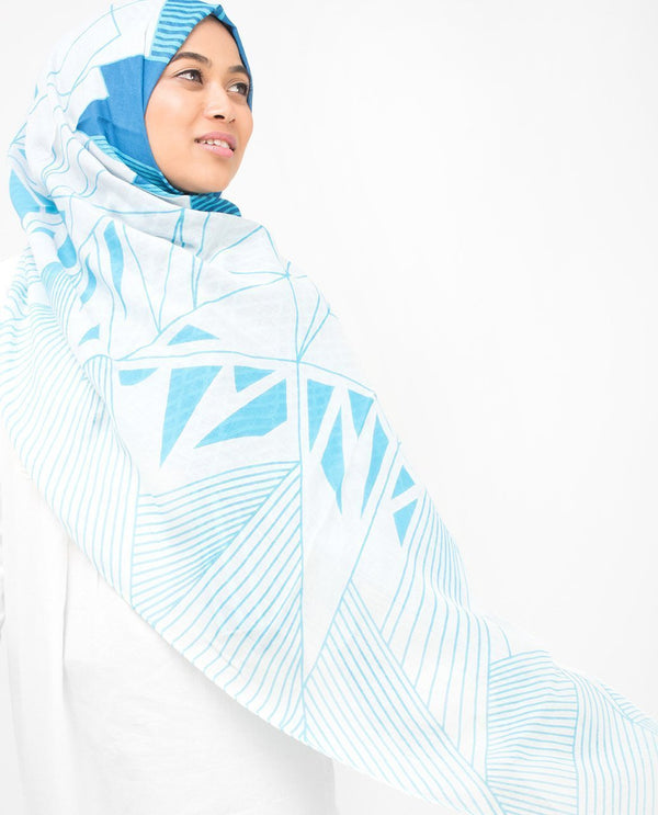 "Imperial Blue & Winter Sky Contour Hijab-HIJABS-Route 01-Regular 27""x70""-Blue-MeHijabi.com"