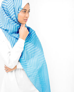 "River Blue and Lime Punch Hijab-HIJABS-InEssence-Regular 27""x70""-MeHijabi.com"