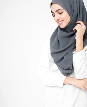 "Castle Rock Grey Georgette Hijab-HIJABS-InEssence-Regular 27""x70""-MeHijabi.com"