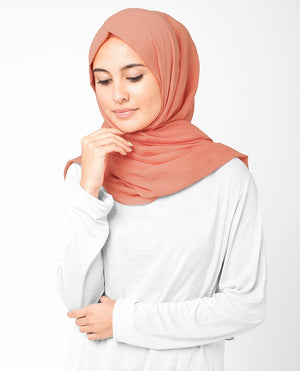 "Arabesque Orange Cotton Voile Hijab-HIJABS-InEssence-Regular 27""x70""-MeHijabi.com"
