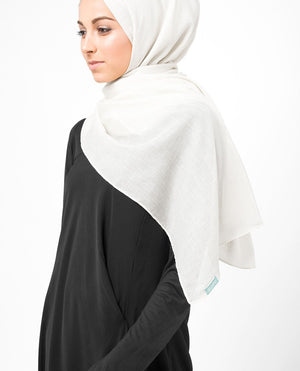 "Bright White Cotton Voile Hijab-HIJABS-InEssence-Regular 27""x70""-MeHijabi.com"