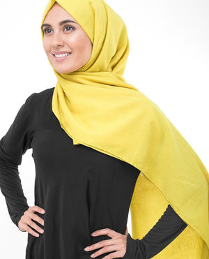 "Cellery Yellow Cotton Voile Hijab-HIJABS-InEssence-Regular 27""x70""-MeHijabi.com"
