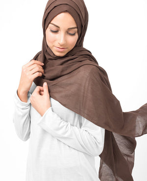 "Chestnut Brown Cotton Voile Hijab-HIJABS-InEssence-Regular 27""x70""-MeHijabi.com"