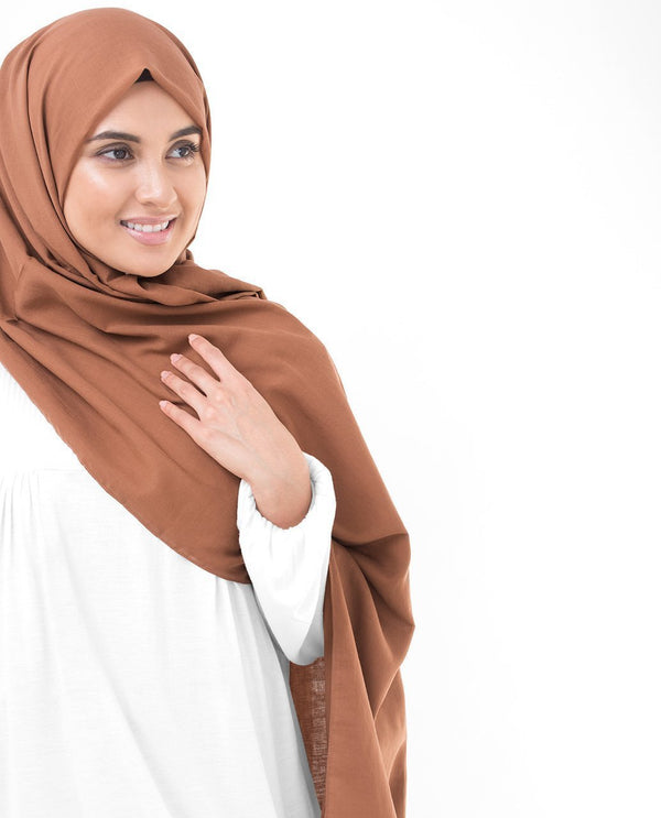 "Cinnamon Stick Brown Cotton Voile Hijab-HIJABS-InEssence-Regular 27""x70""-MeHijabi.com"