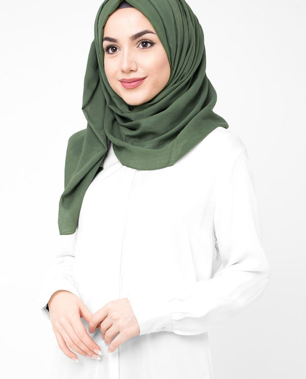 "Deep Grass Green Cotton Voile Hijab-HIJABS-InEssence-Regular 27""x70""-MeHijabi.com"