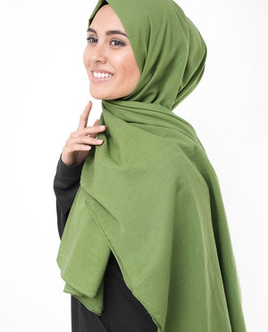 "Forest Green Cotton Voile Hijab-HIJABS-InEssence-Regular 27""x70""-MeHijabi.com"