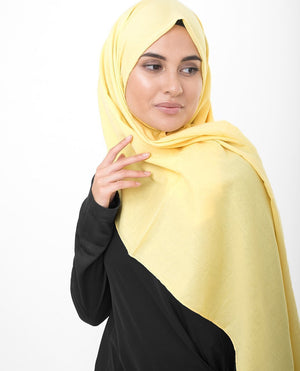 "Goldfinch Yellow Cotton Voile Hijab-HIJABS-InEssence-Maxi 40""x70""-MeHijabi.com"