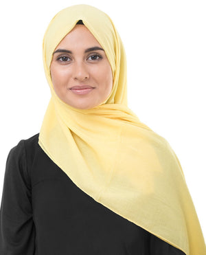 "Goldfinch Yellow Cotton Voile Hijab-HIJABS-InEssence-Regular 27""x70""-MeHijabi.com"
