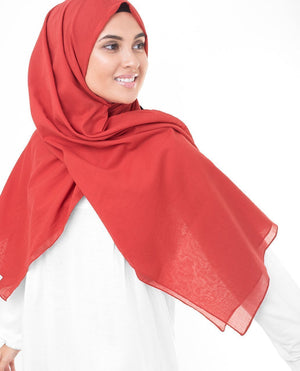 "High Risk Red Cotton Voile Hijab-HIJABS-InEssence-Maxi 40""x70""-MeHijabi.com"