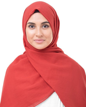 "High Risk Red Cotton Voile Hijab-HIJABS-InEssence-Regular 27""x70""-MeHijabi.com"