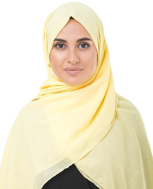 "Lemon Grass Yellow Cotton Voile Hijab-HIJABS-InEssence-Regular 27""x70""-MeHijabi.com"