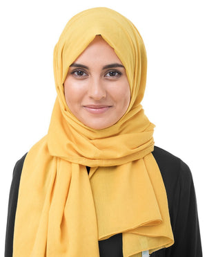 "Lemonade Yellow Cotton Voile Hijab-HIJABS-InEssence-Regular 27""x70""-MeHijabi.com"