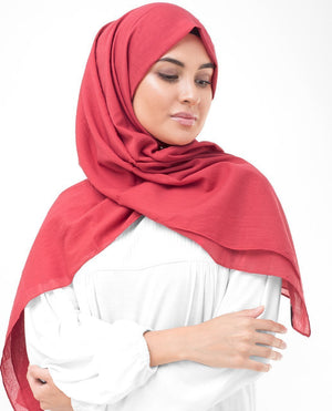 "Lollipop Red Cotton Voile Hijab-HIJABS-InEssence-Regular 27""x70""-MeHijabi.com"