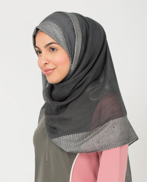 "Dark Shadow and Silver Hijab-HIJABS-Urban Studio-Regular 27""x70""-MeHijabi.com"