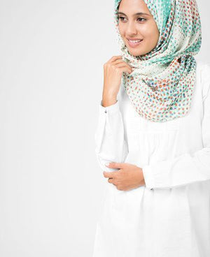 "Flamingo White Hijab-HIJABS-Route 01-Regular 27""x70""-MeHijabi.com"