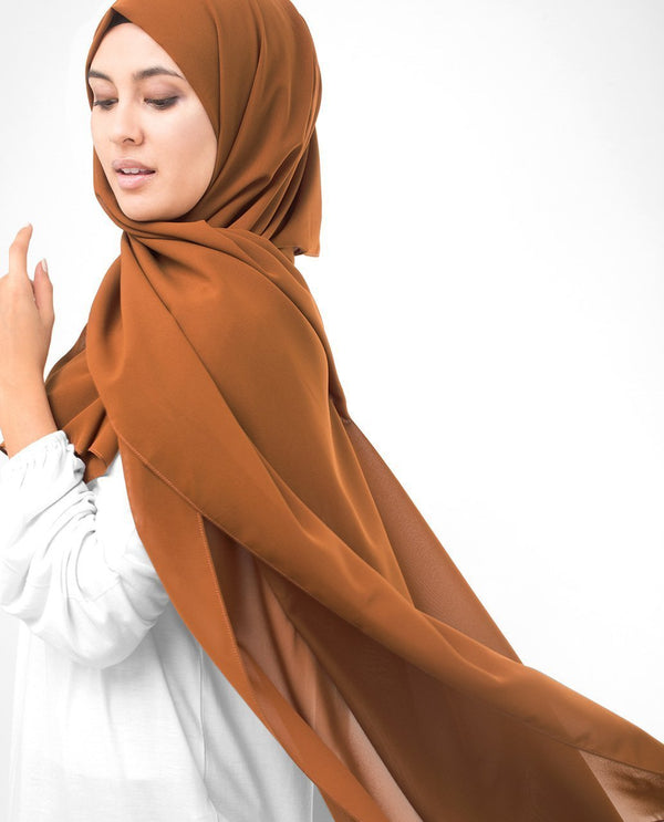 "Glazed Ginger Brown Georgette Hijab-HIJABS-InEssence-Regular 27""x70""-MeHijabi.com"