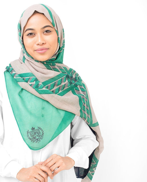 "Green Check Viscose Hijab-HIJABS-Silk Route-Regular 27""x70""-MeHijabi.com"