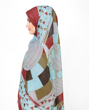 "Glacier Gray and Red Cotton Voil Hijab-HIJABS-Urban Studio-Regular 27""x70""-MeHijabi.com"