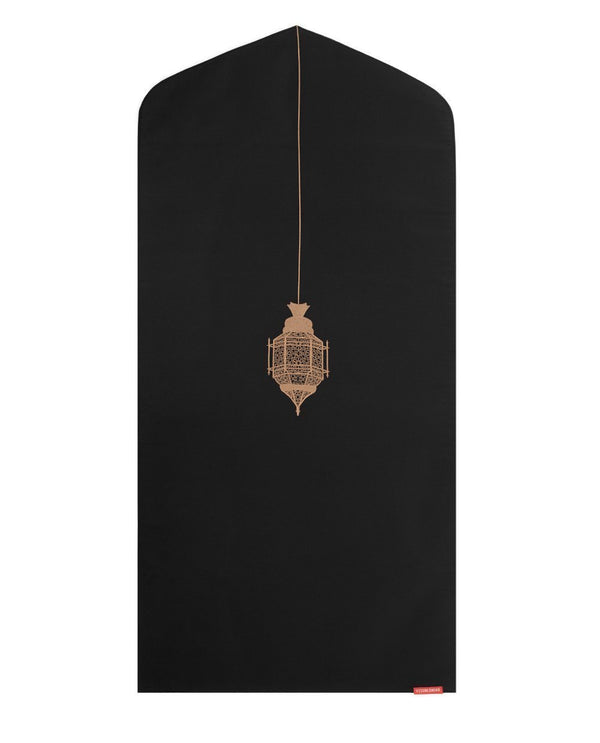 Islamic Prayer Mat in Black with Lantern Arch Shaped-PRAYER MAT-Visual Dhikr-Black-MeHijabi.com